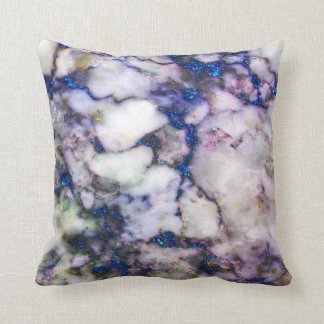 Gray And Pink Marble Stone And Blue Glitter Throw Pillow