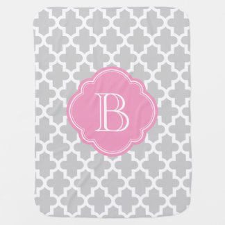 Gray and Pink Moroccan Quatrefoil Monogram Baby Blanket