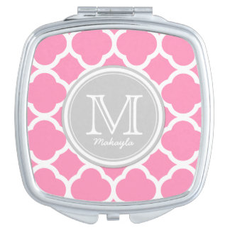 Gray and Pink quatrefoil with Monogram Travel Mirror