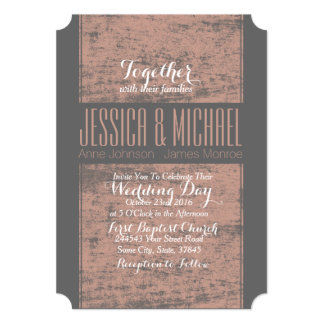 "Gray and Pink Rustic Grunge Wedding 5"" X 7"" Invitation Card"