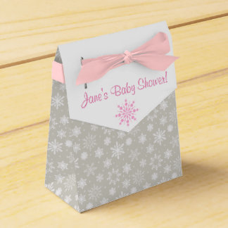 Gray and Pink Snowflake Favor Boxes