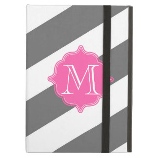 Gray and Pink Striped Custom Monogram Case