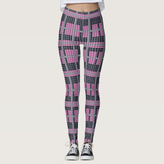 Gray and Pink Studded Plaid Design Winter Leggings