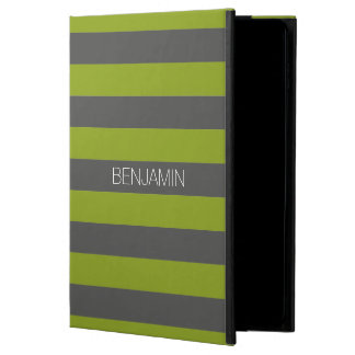 Gray and Pistachio Green Stripes with Custom Name Powis iPad Air 2 Case
