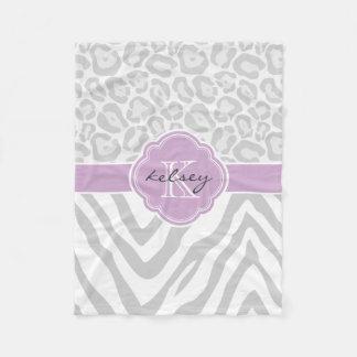 Gray and Purple Animal Print Custom Monogram Fleece Blanket
