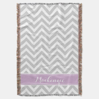 Gray and Purple Chevron Monogram Throw Blanket