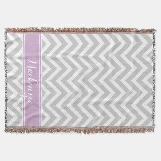 Gray and Purple Chevron Monogram Throw Blanket