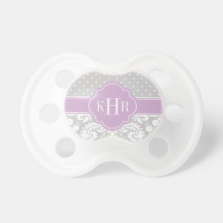 Gray and Purple Damask Polka Dots Monogram Pacifiers