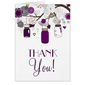 Gray and Purple Mason Jars Wedding Thank You Card