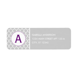 Gray and Purple Quatrefoil Monogram