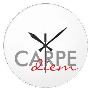Gray and Red Custom Latin Quotes Carpe Diem Large Clock