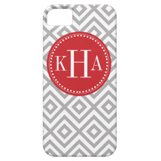 Gray and Red Customized Full Monogram Pattern iPhone 5 Cover