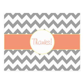 Gray and Salmon Chevron Striped Monogram Thank You Postcard