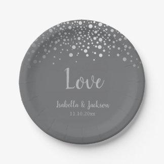 Gray and Silver Confetti Dots Paper Plate