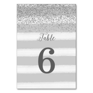 Gray and Silver Wedding Table Number Card