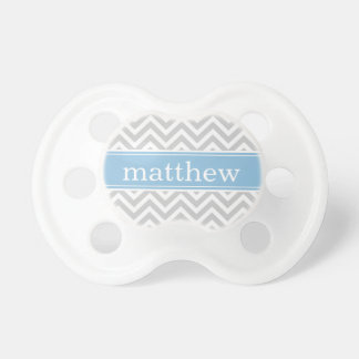 Gray and Sky Blue Chevron Monogram Baby Pacifier
