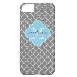 Gray and Sky Blue Quatrefoil Custom Monogram iPhone 5C Case