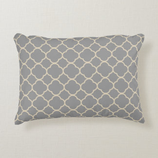 Gray and Tan Beige Quatrefoil Throw Pillow