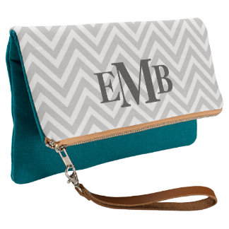 Gray And Teal Chevron Monogram Clutch
