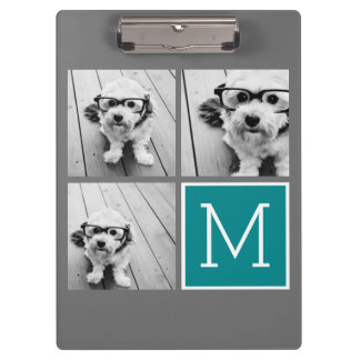Gray and Teal Instagram Photo Collage Monogram Clipboards
