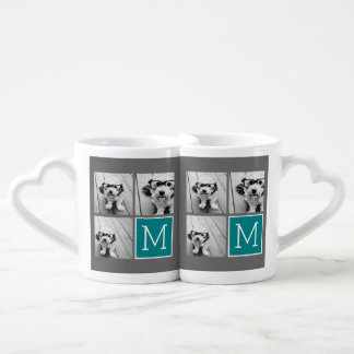 Gray and Teal Instagram Photo Collage Monogram Lovers Mugs