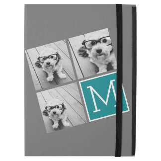 Gray and Teal Photo Collage Monogram