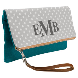 Gray And Teal Polka Dot Monogram Clutch