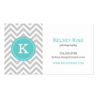 Gray and Turquoise Chevron Custom Monogram Pack Of Standard Business Cards