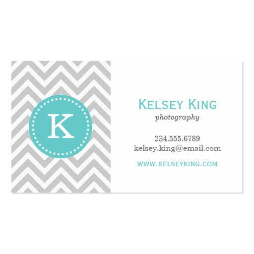 Gray and Turquoise Chevron Custom Monogram Business Card