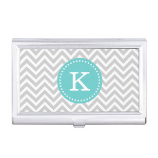 Gray and Turquoise Chevron Custom Monogram Business Card Holder