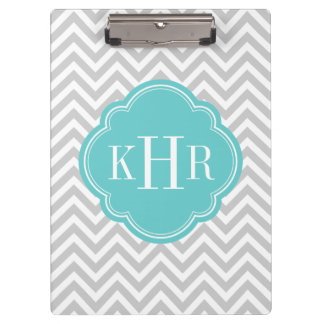 Gray and Turquoise Chevron Custom Monogram Clipboard