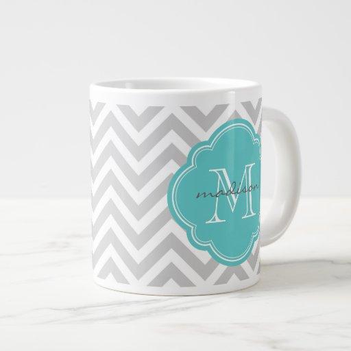 Gray and Turquoise Chevron Custom Monogram Jumbo Mugs