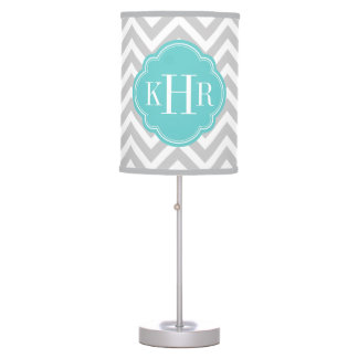 Gray and Turquoise Chevron Custom Monogram Table Lamp