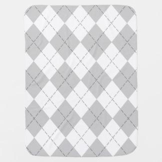 Gray and White Argyle Baby Blanket