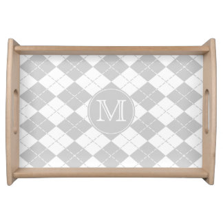 Gray and White Argyle Monogrammed Serving Tray