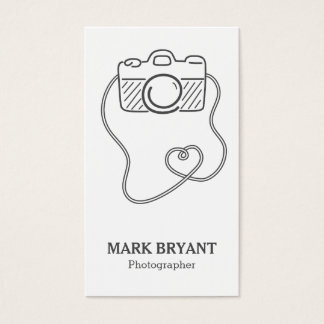 Gray and White, Camera Doodle, Photographer Business Card