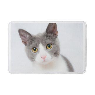 Gray and White Cat Head Shot Bath Mat