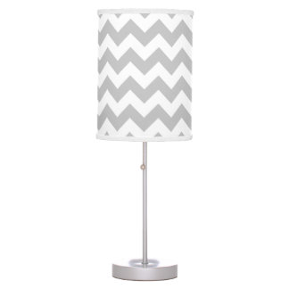 Gray and White Chevron Lamp