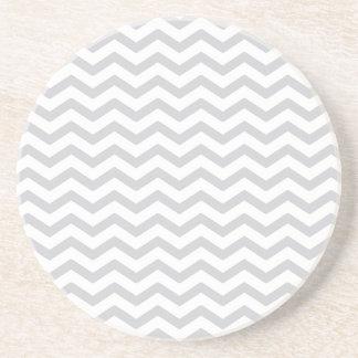 Gray And White Chevron Print Drink Coasters