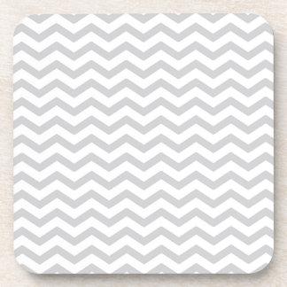 Gray And White Chevron Print Beverage Coaster
