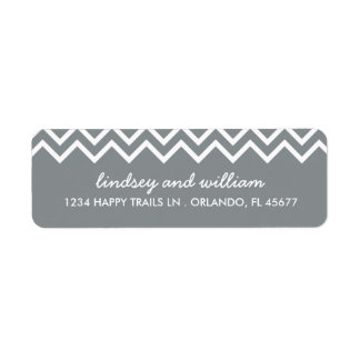 Gray and White Chevron Wedding Address Labels
