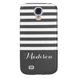 Gray and White Classic Stripes Monogram