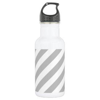 Gray and White Diagonal Stripes Pattern 532 Ml Water Bottle