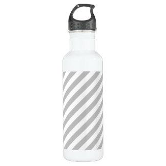 Gray and White Diagonal Stripes Pattern 710 Ml Water Bottle