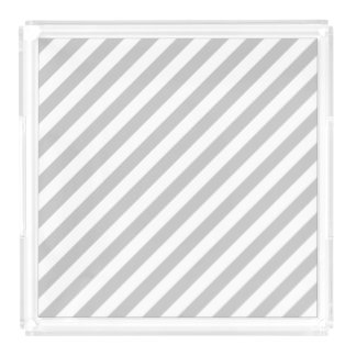 Gray and White Diagonal Stripes Pattern Acrylic Tray