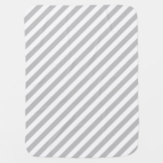 Gray and White Diagonal Stripes Pattern Baby Blanket