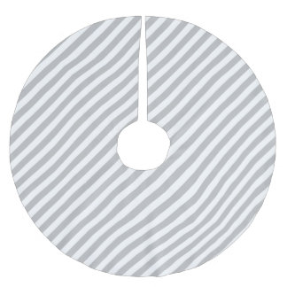 Gray and White Diagonal Stripes Pattern Brushed Polyester Tree Skirt