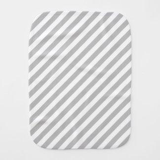 Gray and White Diagonal Stripes Pattern Burp Cloth