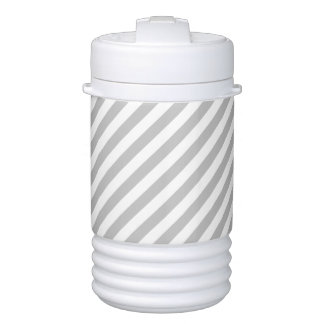 Gray and White Diagonal Stripes Pattern Cooler