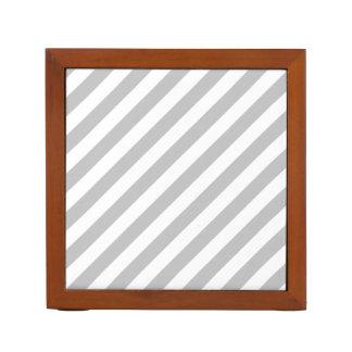 Gray and White Diagonal Stripes Pattern Desk Organizer